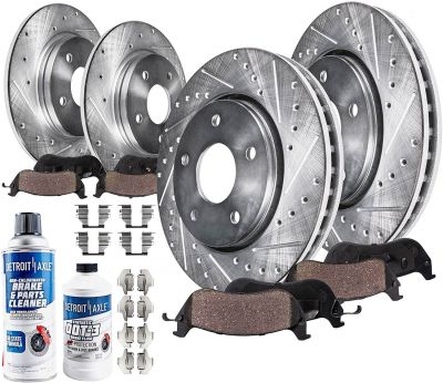 302mm Front & 305mm Rear Brake Rotors and Pads Kit for 08-11 Dodge Grand Caravan/ Journey/ Chrysler Town & Country - Drilled and Slotted