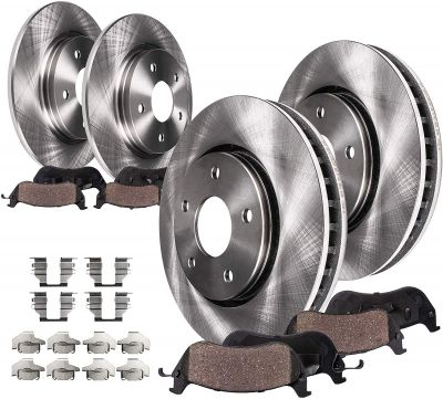 Front & Rear Disc Brake Rotors + Ceramic Pads for 2006 2007-2010 Chevy