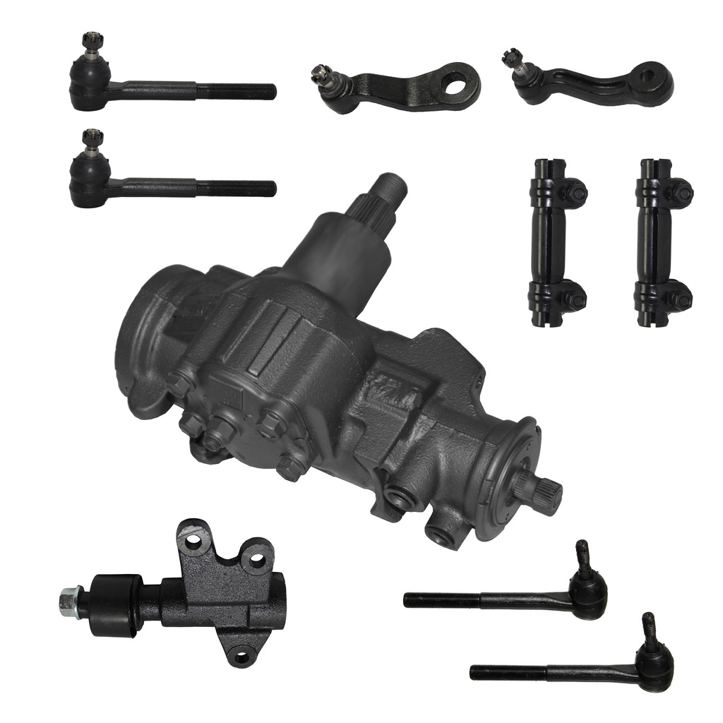 10-Piece Gearbox Kit - 1 Power Steering Gearbox (reman), 1 Idler Arm (new), 1 Pitman Arm (new), All 4 Inner and Outer Tie Rod End Links (new), 2 Adjusting Sleeves (new) - Except VIN Code R - 4WD/4x4 ONLY