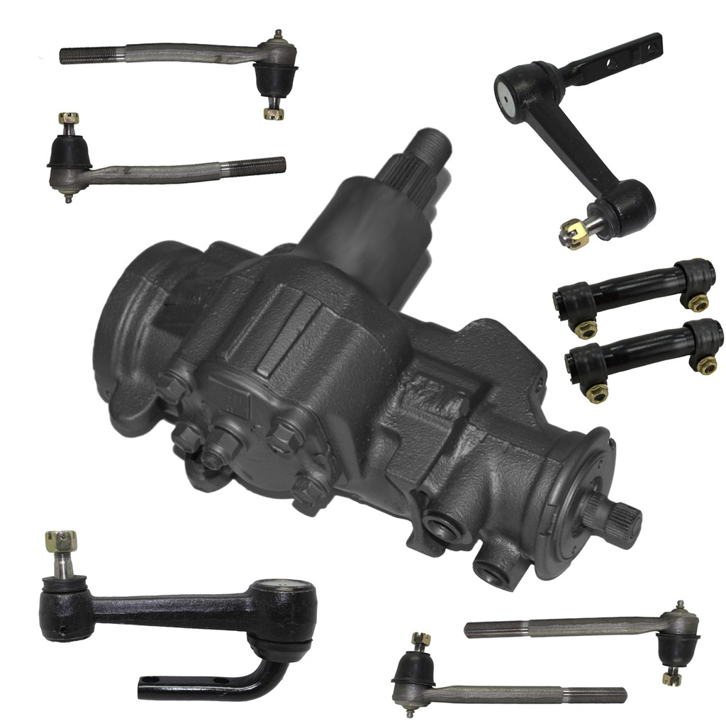 9-Piece Gearbox Kit - 1 Power Steering Gearbox (reman), All New 2 Idler Arms , All 4 Inner and Outer Tie Rod End Links, 2 Adjusting Sleeves - 2WD Models Only