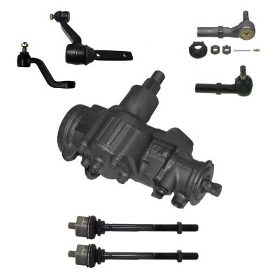 7-Piece Gearbox Kit - 1 Power Steering Gearbox (reman), 1 Idler Arm (new), 1 Pitman Arm (new), All 4 Inner and Outer Tie Rod End Links fits 4x4 Only