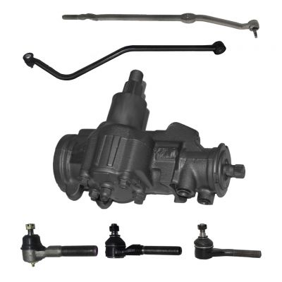 6-Piece Gearbox Kit - 1 Power Steering Gearbox (reman), 1 Track Bar (new), 1 Outer Tie Rod Drag Link (new), 1 Outer Tie Rod End Link (new), 2 Inner Tie Rod End Links - Fits 4WD/4x4 ONLY