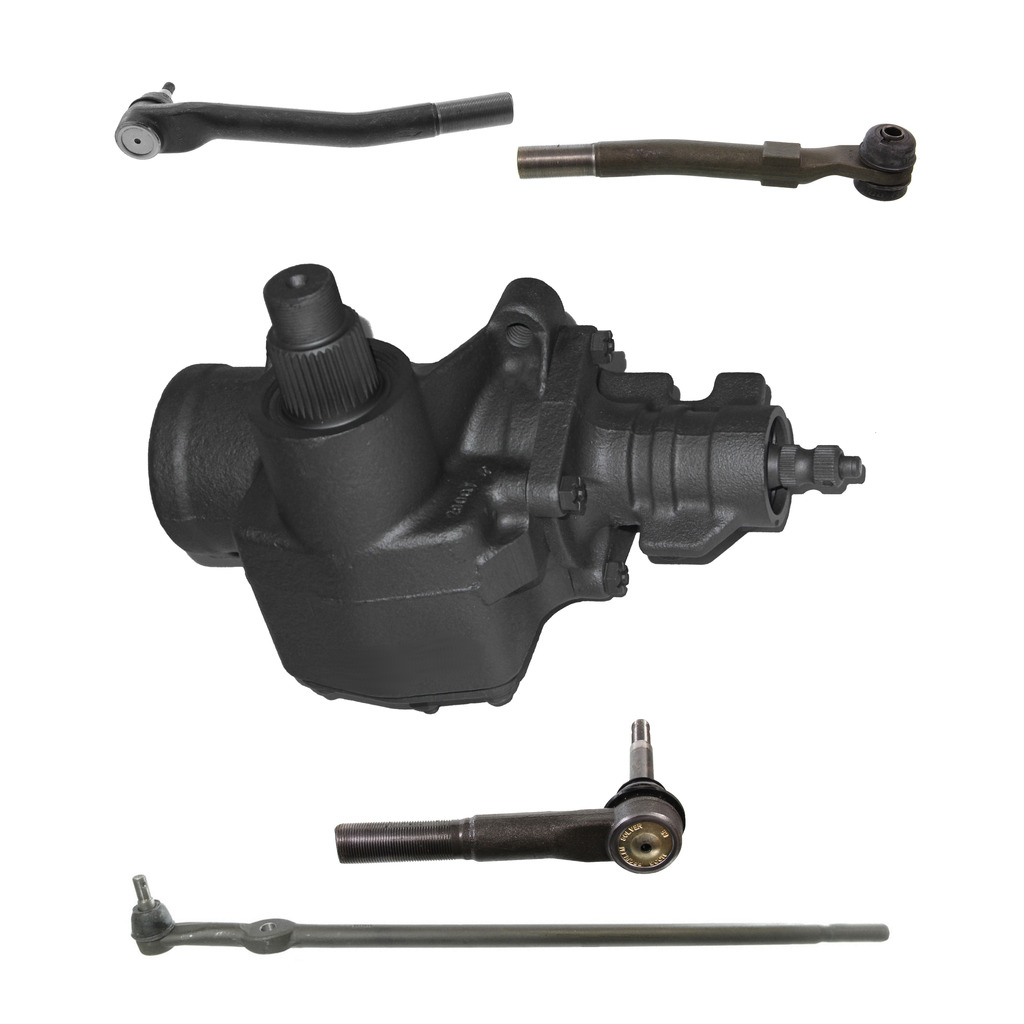 5-Piece Gearbox Kit - 1 Power Steering Gearbox (reman), 1 Tie Rod Drag Link (new), 2 Outer Tie Rod End Links (new), 1 Outer Tie Rod Drag Link (new) - Fits 4WD/4x4 ONLY