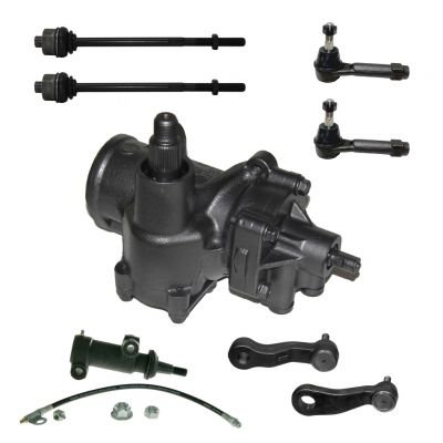 8-Piece Gearbox Kit - 1 Power Steering Gearbox (reman), 1 Idler Arm (new), 1 Pitman Arm (new), 2 Outer Tie Rod End Links (new), 1 idler arm bracket ass'y (new) - Fits 4WD/4x4 ONLY