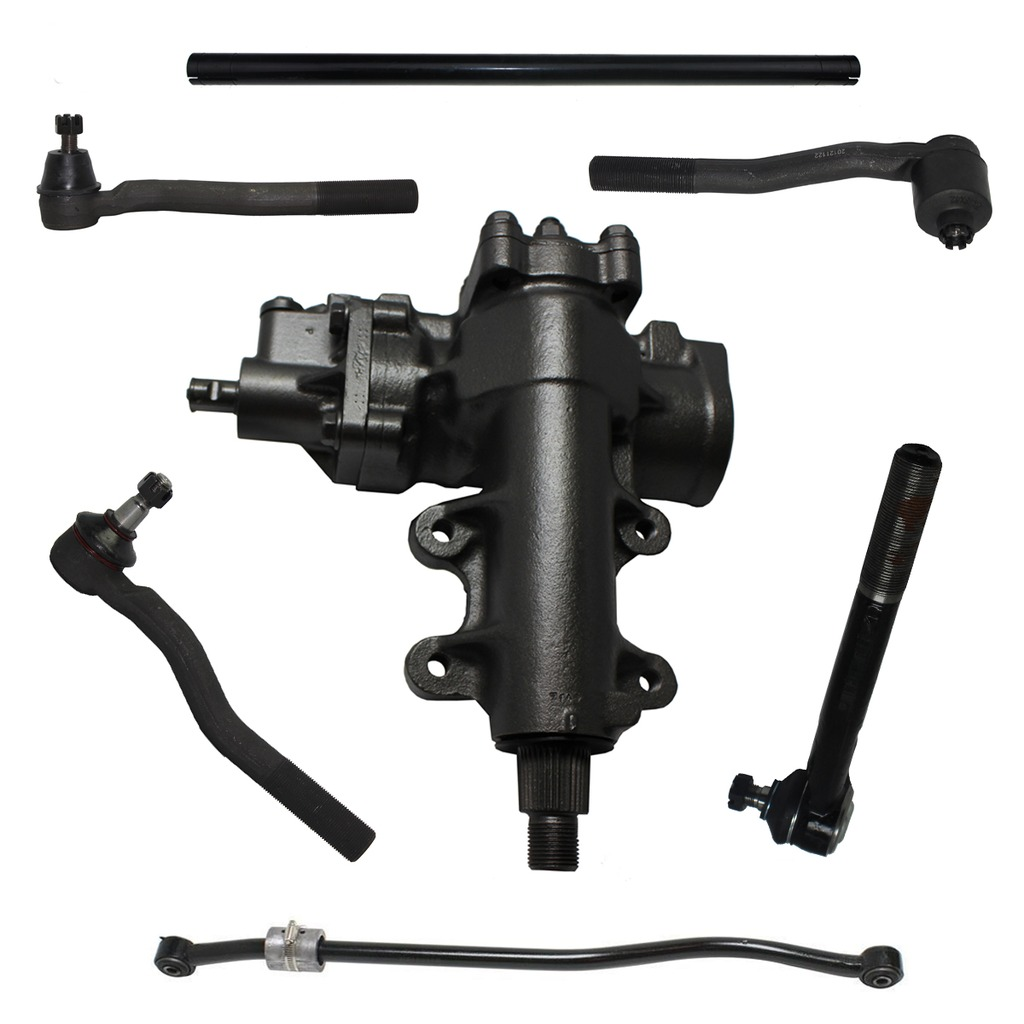7-Piece Gearbox Kit - 1 Power Steering Gearbox (reman), 1 Track Bar (new), 1 Pitman Arm (new), 4 Outer tie rod end links (new), 1 Tie Rod Adjusting Sleeve - 32 Spline Sector Shaft