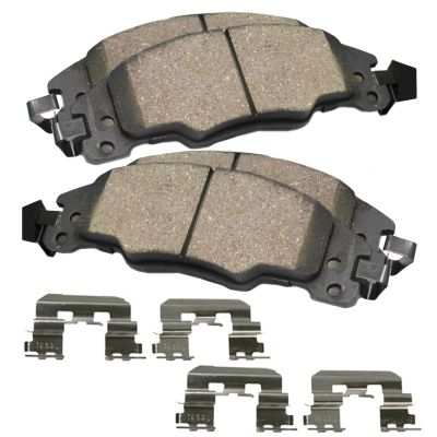 Rear Ceramic Brake Pads w/Hardware Kit for 2003-2011 Ford Crown Victoria/ Lincoln Town Car/ Mercury Grand Marquis - [2003-2004 Mercury Marauder]