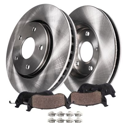 Front Brake Rotors and Ceramic Brake Pads for V6 RWD Charger, Challenger, Magnum, 300