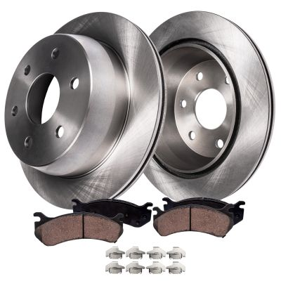 Rear Brake Rotors and Ceramic Brake Pad Kit with Single Piston Rear Calipers