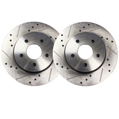 """Pair (2) 10.47"""" (266mm) Rear Drilled and Slotted Brake Rotors - Performance Grade for Saab 9-2X Subaru Forester Impreza Legacy"""
