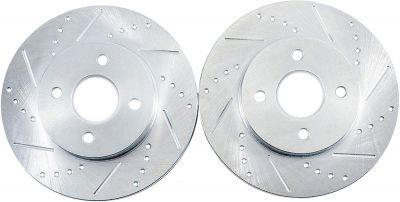 """Pair (2) 10.24"""" (260mm)REAR Drilled and Slotted Brake Rotors - Performance Grade for  1998-1999 Acura CL 2.3L - [1998-2002 Honda Accord 2.3L]"""