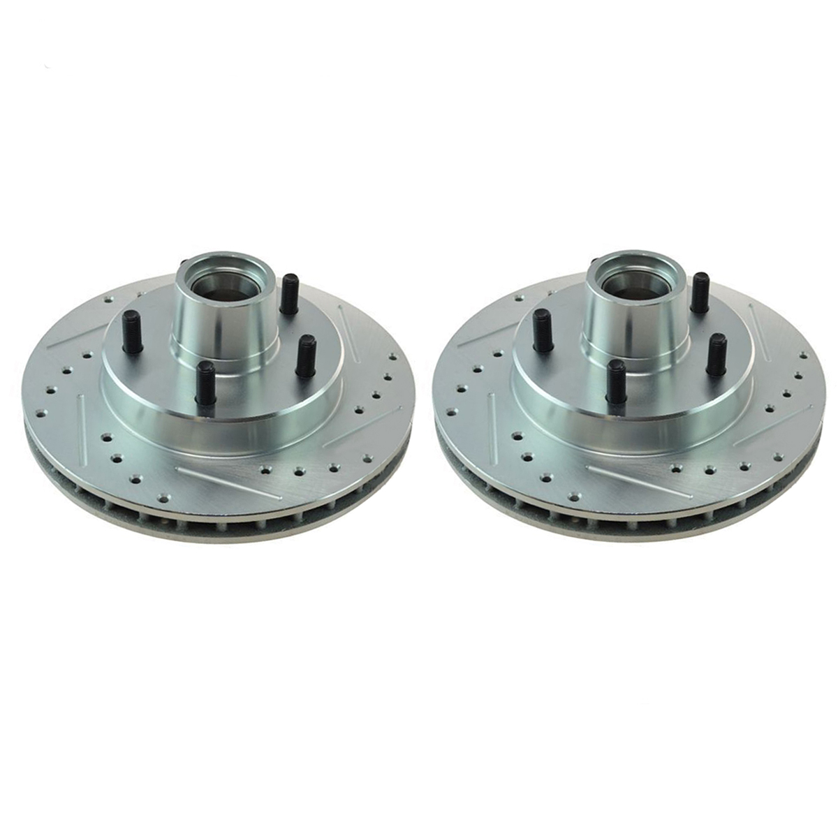 Pair (2) Front Drilled and Slotted Disc Brake Rotors for 1991-2003 Chevy  S10 Blazer 2WD - [1991-2003 GMC Jimmy S15 Sonoma 2WD] - 1996-2000 Isuzu