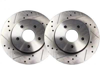 """Pair (2) 10.81"""" (274.8mm) Front Drilled and Slotted Brake Rotors - Performance Grade for Pontiac Vibe Scion tC Toyota Celica Corolla Matrix"""