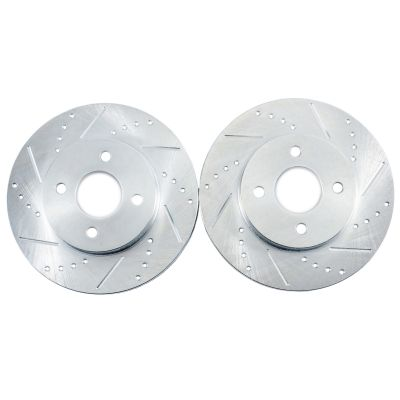 Front Drilled & Slotted Brake Rotors - 2000 2001 Hyundai Accent