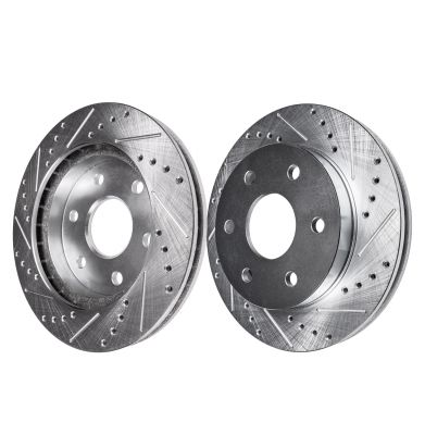 Front Disc Brake Rotors - 17inch Wheels, 338mm Size - Drilled and Slotted