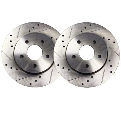 Rear Drilled & Slotted Brake Rotors - 2004-2012 Mazda 3 - See Fitment
