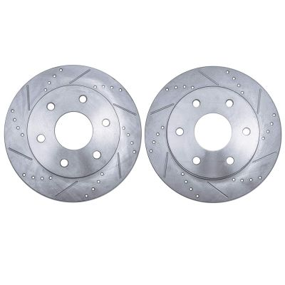 Rear Drilled Slotted Brake Rotors - 05-19 Nissan, Suzuki - See Fitment