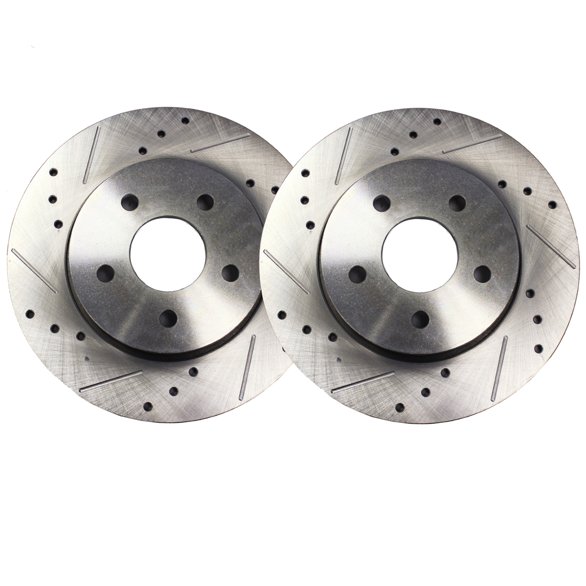 Front Drilled & Slotted Brake Rotors for FWD - Pair (2) 11.73″ (298mm) 6 Lug