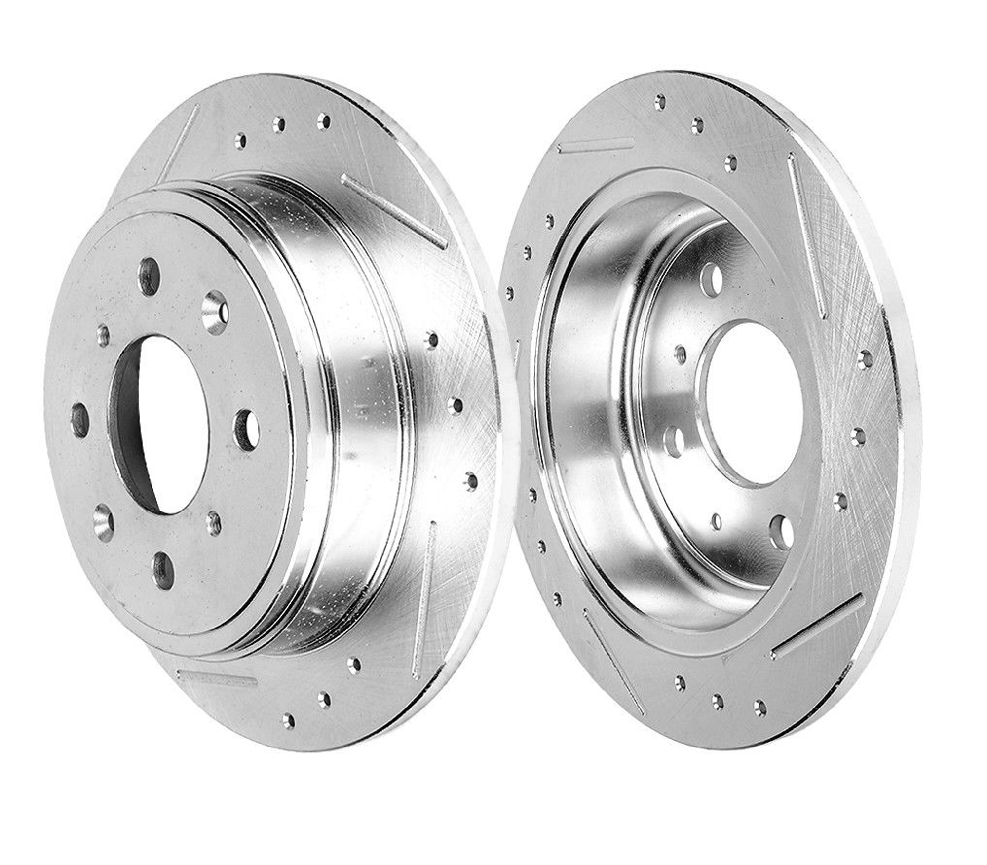 Pair (2) Rear Drilled And Slotted Disc Brake Rotors For