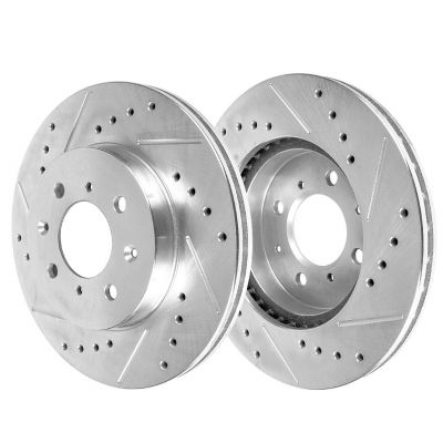 Front Disc Brake Rotors - 262mm Size, Check Fitment - Drilled and Slotted