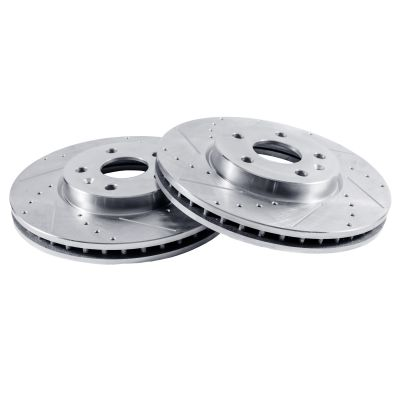 REAR Drilled and Slotted Disc Brake Rotors for 256mm Size Models – See Fitment