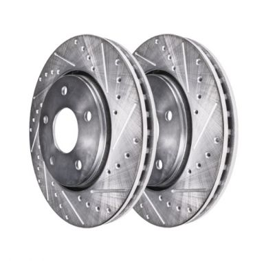 285mm Front Drilled Slotted Brake Rotors - 2003-2010 Saab - See Fitment