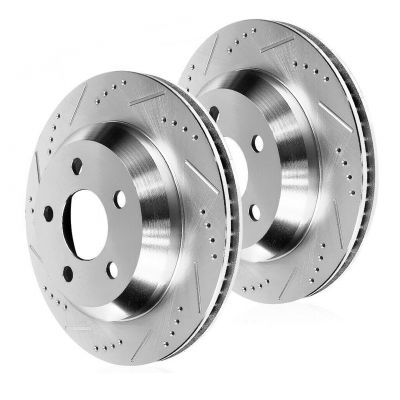 320mm Rear Drilled & Slotted Brake Rotors - 2004-2010 BMW X3 - 5 LUG