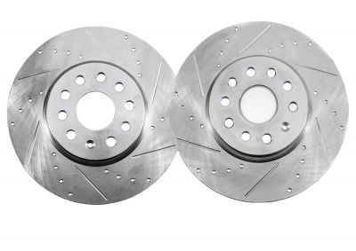 Front Drilled & Slotted Brake Rotors - 2000 - 2009 Audi - See Fitment