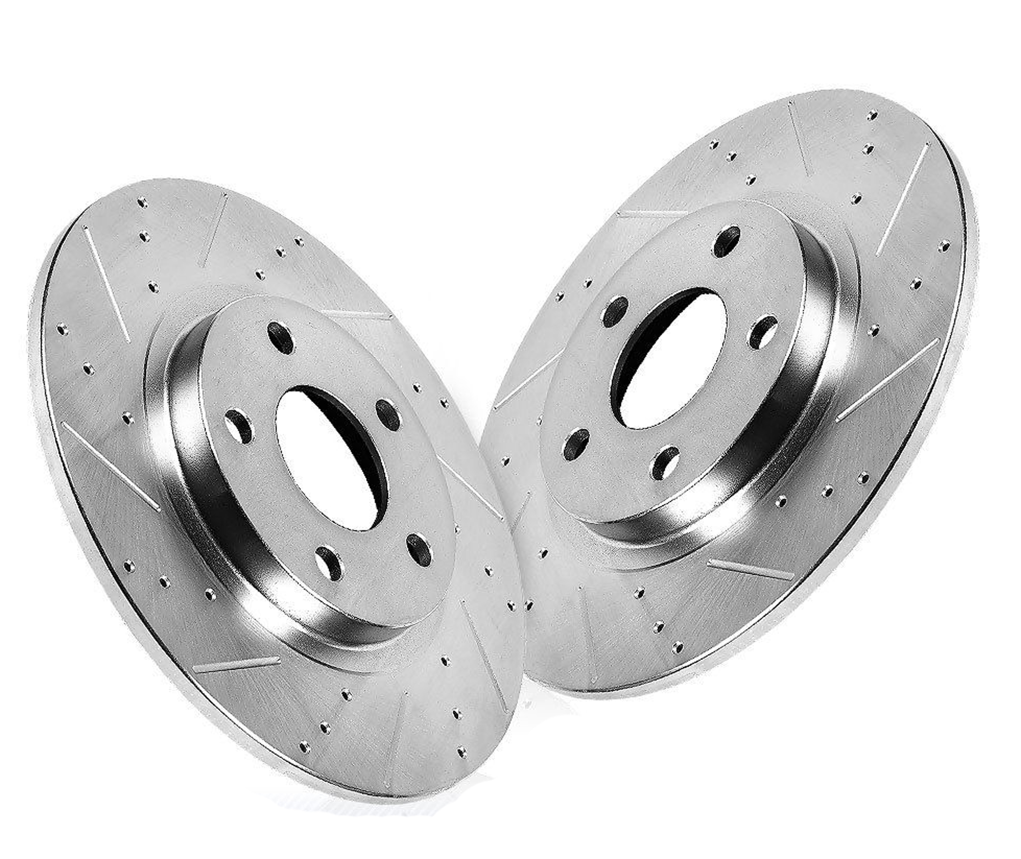 Pair (2) Rear Drilled and Slotted Disc Brake Rotors for Audi A4 A5 -  Detroit Axle