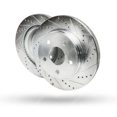 Drilled and Slotted Brake Rotors Pair (2) #S-53005- Chrysler/Dodge/Ram
