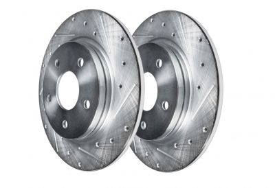 Rear Drilled Slotted Brake Rotors, Jeep Wrangler, Liberty - See Fitment