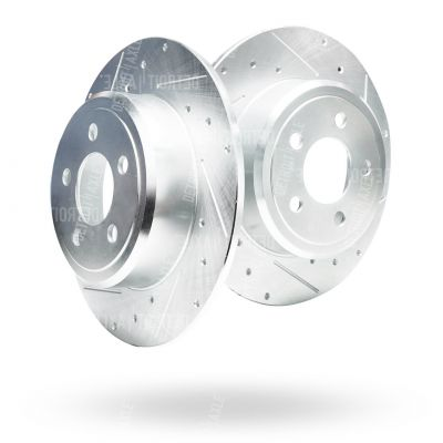 Solid Rear Drilled and Slotted Brake Rotors #S-53021- Chrysler/Dodge