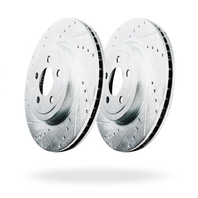 Front Disc Brake Rotors - 13.58inch Size; Model w/Rear Vented Rotor - Drilled and Slotted