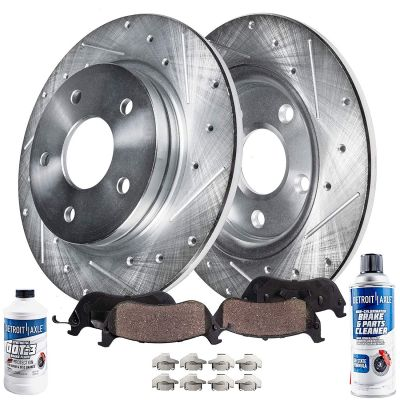 Rear Drilled Slotted Brakes Rotors and Pads for Single Piston Caliper
