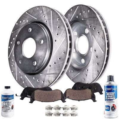 Front Brakes Rotors Drilled Slotted and Pads for Dodge Journey Caravan, Town & Country