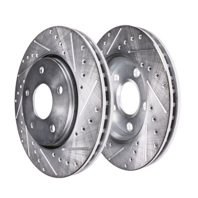 """Pair (2) 10.87"""" (276mm) FRONT Drilled and Slotted Disc Brake Rotors for Mustang Base / GT"""