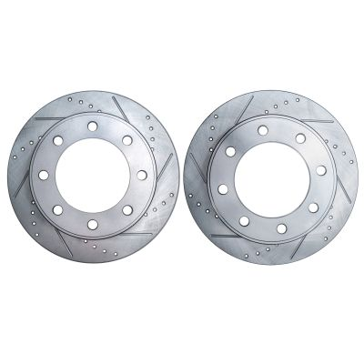 331mm Drilled & Slotted Front Brake Rotors 4WD Pair (2) #S-54078-Ford
