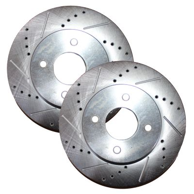 """Pair (2) 10.15"""" (257.9MM) 4-Lug Front Drilled and Slotted Brake Rotors For Rear Drum Models"""