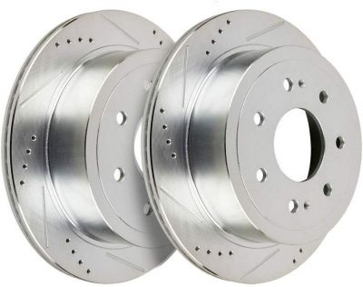 Pair (2) 7-Lug Front Drilled and Slotted Brake Rotors - 2010-2017 Ford F-150