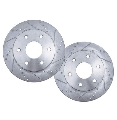 Rear Drilled & Slotted Brake Rotors #S-55073-Buick/Chevy/GMC/Isuzu/Oldsmobile/Saab