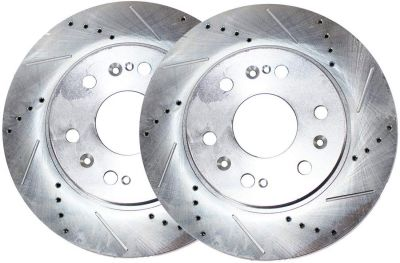 Front Disc Brake Rotors - 12.76 inch Size, See Fitment - Drilled and Slotted
