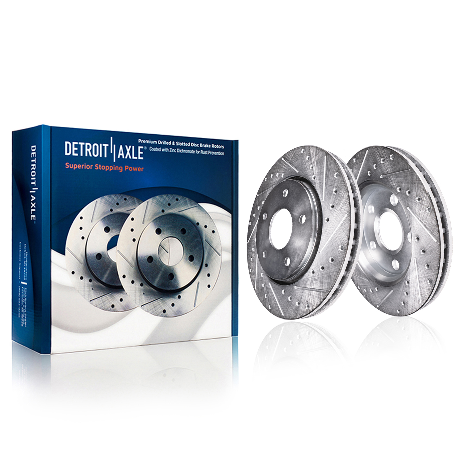 Front Drilled & Slotted Brake Rotors #S-55174-Vented Rear Rotor Models