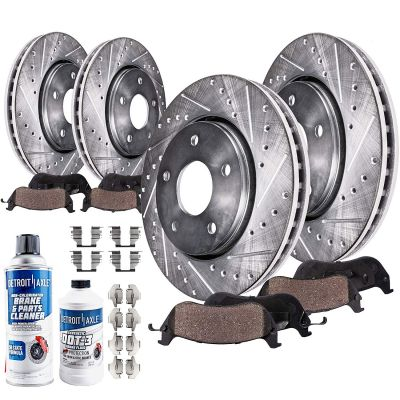 Drilled Slotted Front and Rear Disc Brake Rotors w/Ceramic Pads - Complete Kit
