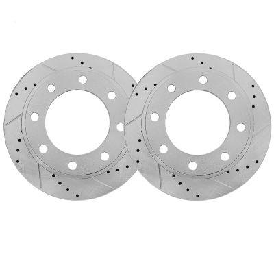 355mm Detroit Axle 13.97 Drilled and Slotted FRONT Brake Rotors for Chevy SS Camaro V8