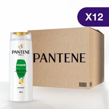 Pantene Shampoo Restauración - Caja de 12 unidades de 400 ml