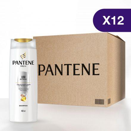 Pantene Shampoo Liso Extremo - Caja de 12 unidades de 400 ml