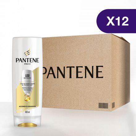 Pantene Acondicionador Liso Extremo - Caja de 12 unidades de 400 ml