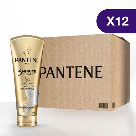 Pantene 3 Minute Miracle Liso Extremo - Caja de 12 unidades de 170 ml