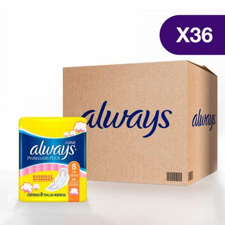 Toallas Sanitarias Always Protección Plus - 36 paquetes de 8 unidades