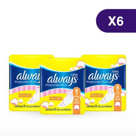 Toallas Sanitarias Always Protección Plus - 6 paquetes de 8 unidades