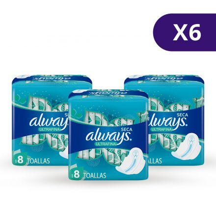 Toallas Sanitarias Always Ultrafina Día - 6 paquetes de 8 unidades